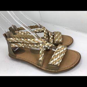 Born Boc candee Gold Gladiator Flat Sandals 9